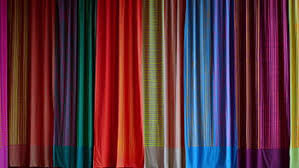 Stage with multicolored curtain